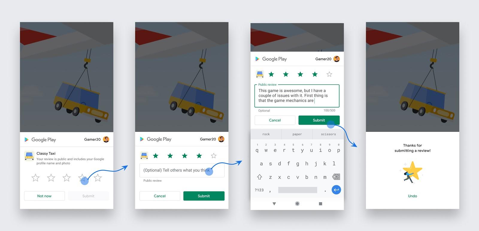 Flujo de trabajo de las opiniones integradas en la app para un usuario