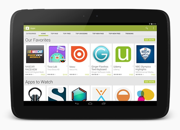 Google Play on an Android Tablet