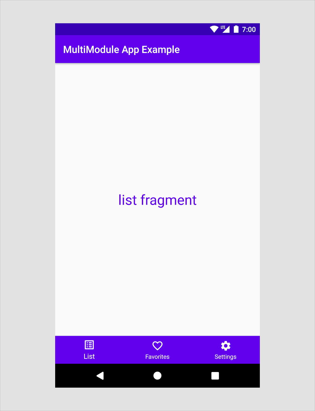 the start destination of the example app