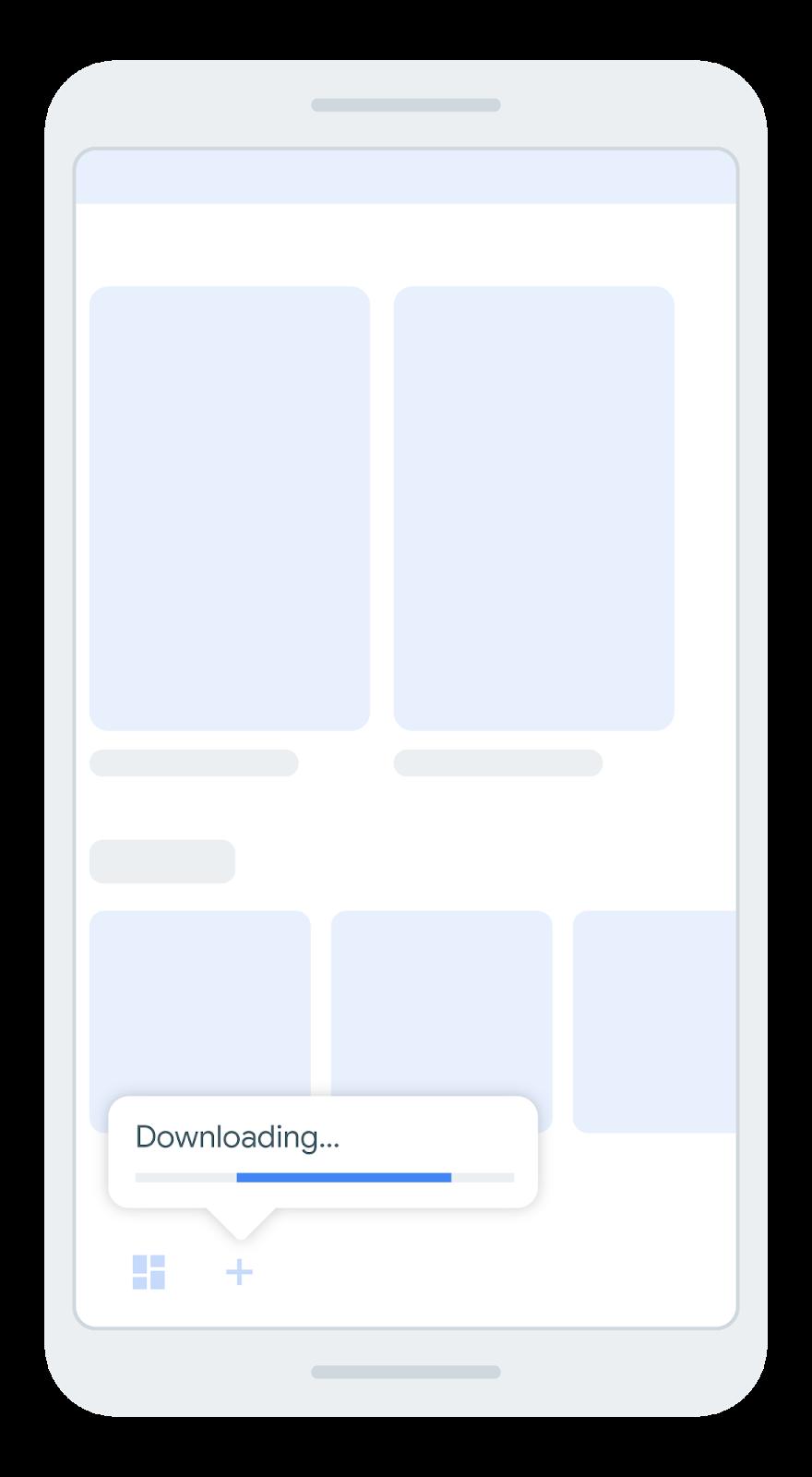 tela que mostra uma barra de navegação inferior com um ícone que indica          o download de um módulo de recursos.