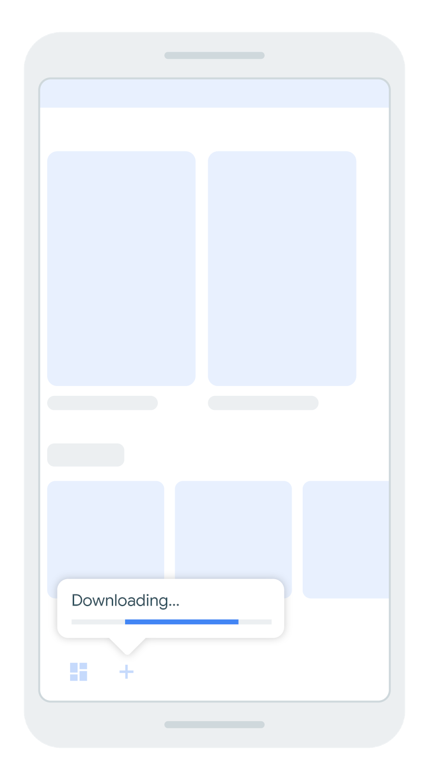 screen that shows a bottom nav bar with an icon that indicates          that a feature module is downloading
