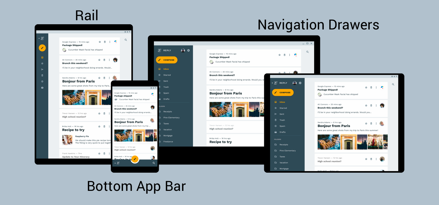 examples of a rail, navigation drawers, and a bottom app bar