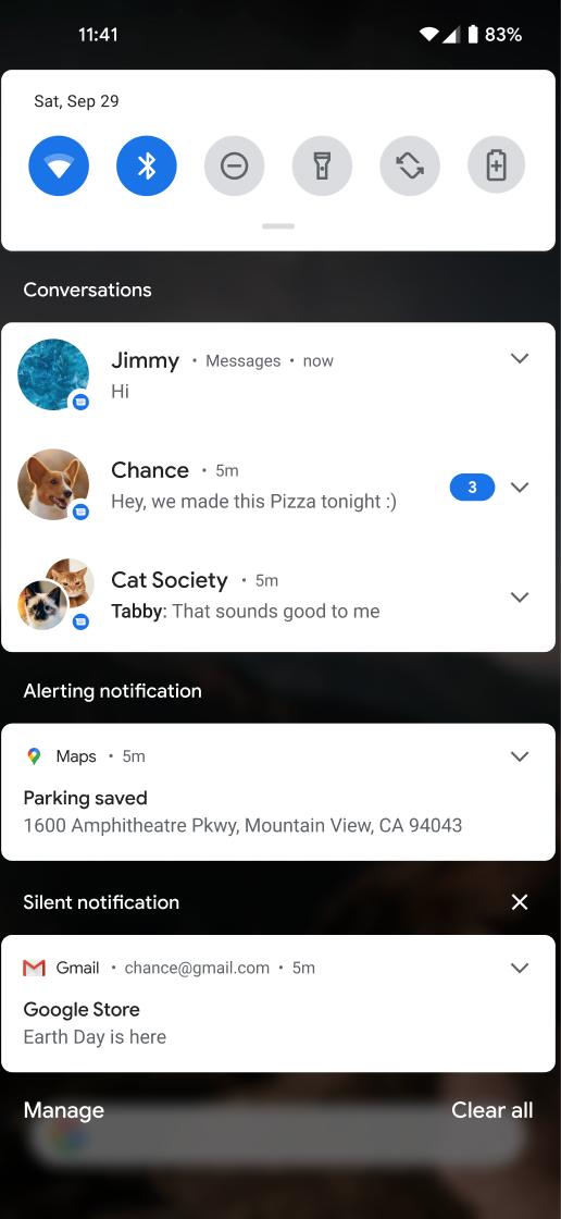 O espaço de conversa é uma área de notificação dedicada a conversas em tempo real entre pessoas.