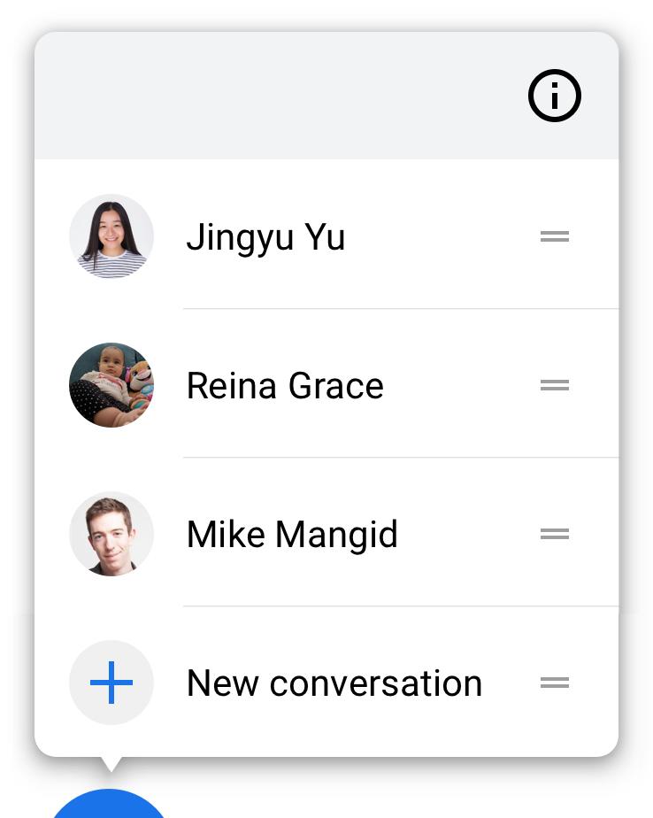 Menekan lama pada percakapan akan membuka menu   tindakan yang terkait dengan percakapan.