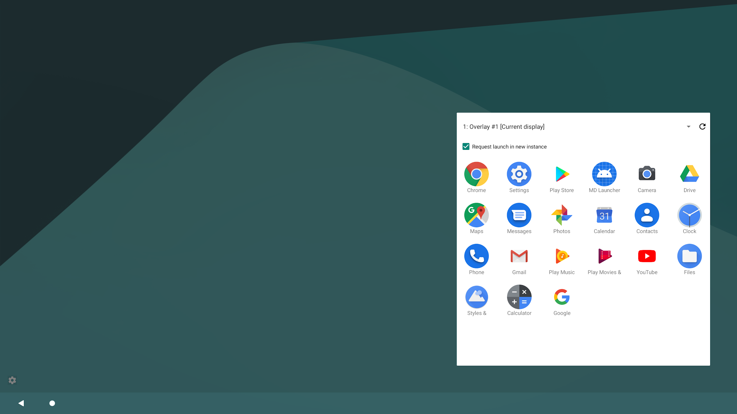 Material Design launcher on a secondary display.