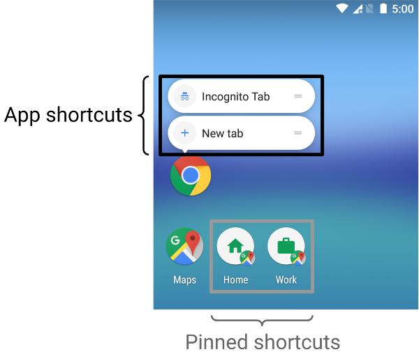 Screenshot showing contrast between app shortcuts   and pinned shortcuts