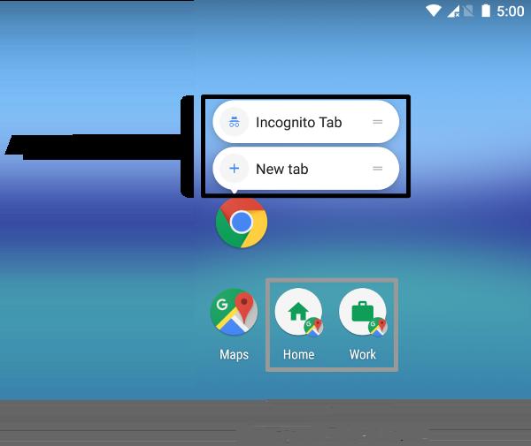 Captura de pantalla que muestra el contraste entre los accesos directos a aplicaciones y los accesos directos fijos