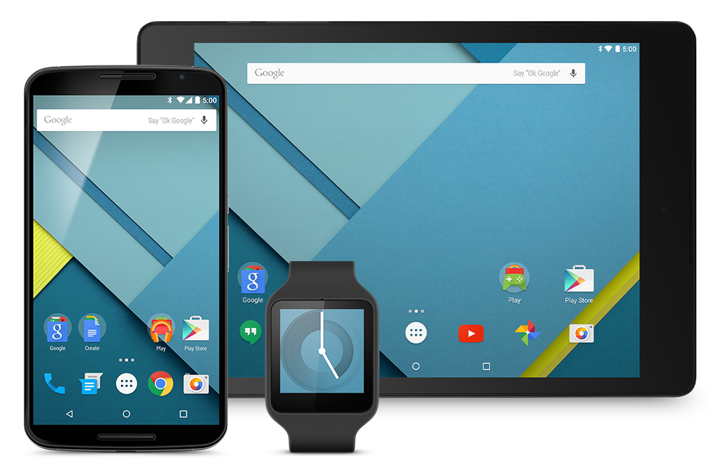 Assorted display of devices including a watch, mobile, and landscape-oriented tablet showcasing Android 5.0
