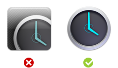 Side by side: cropped and glossy vs. matte and single-shape launcher icons
