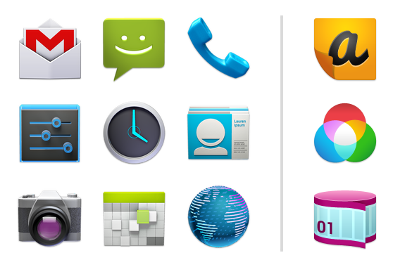 Example launcher icons for system and third-party applications