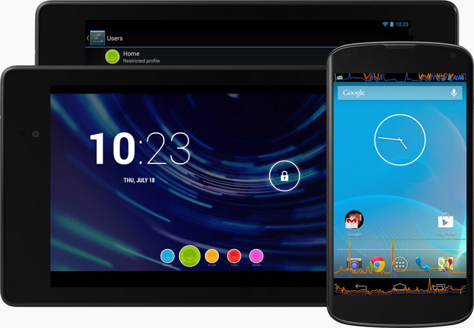 スマートフォンおよびタブレットでの Android 4.3