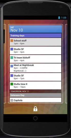 Widget de bloqueio de tela da Agenda