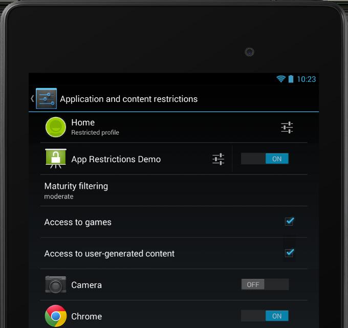 Configuración de restricciones en un perfil
