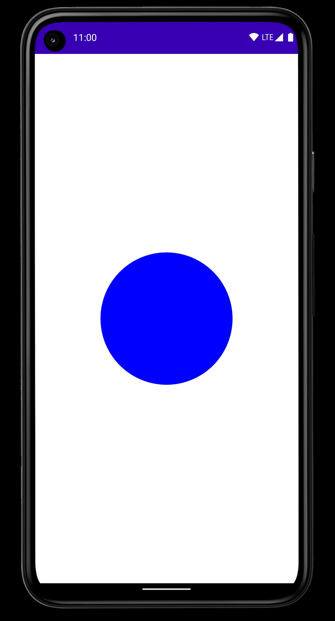 青い円が画面の中央に表示されたスマートフォン。