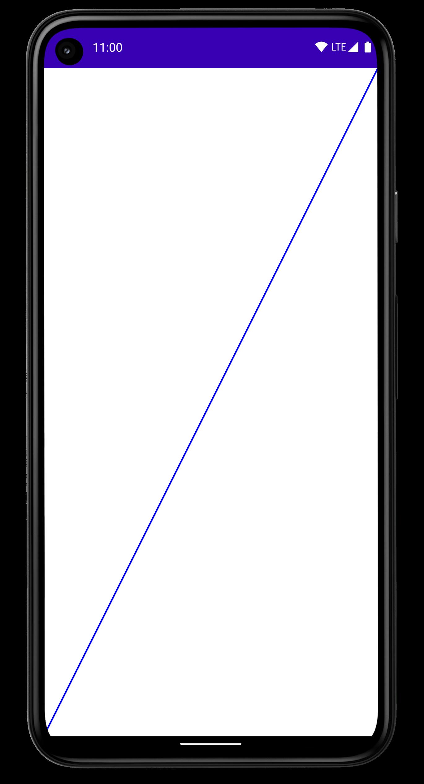 Smartphone com uma linha mais grossa desenhada na diagonal da tela.