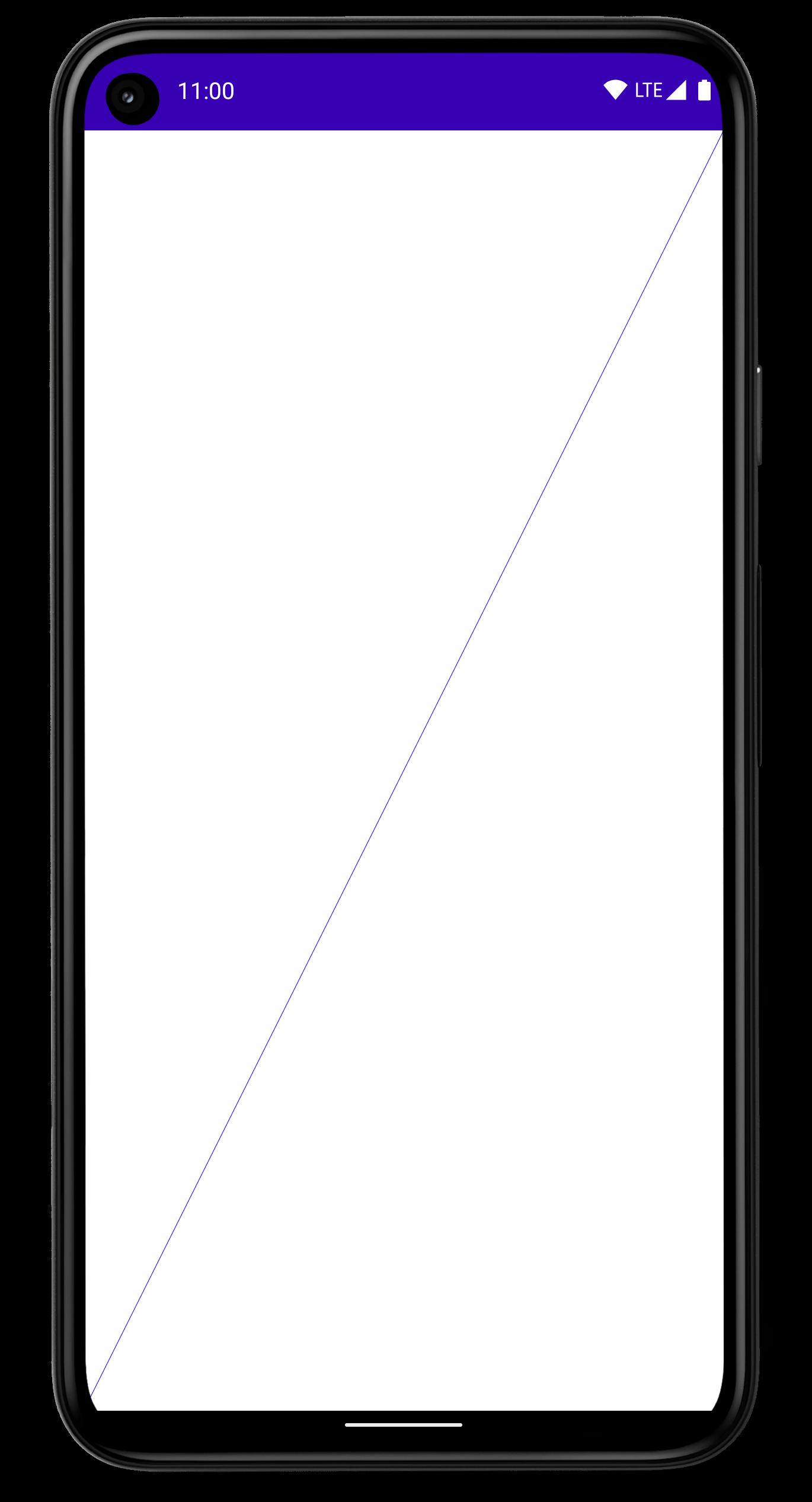 화면을 가로질러 대각선 방향으로 가는 선이 그려져 있는 휴대전화