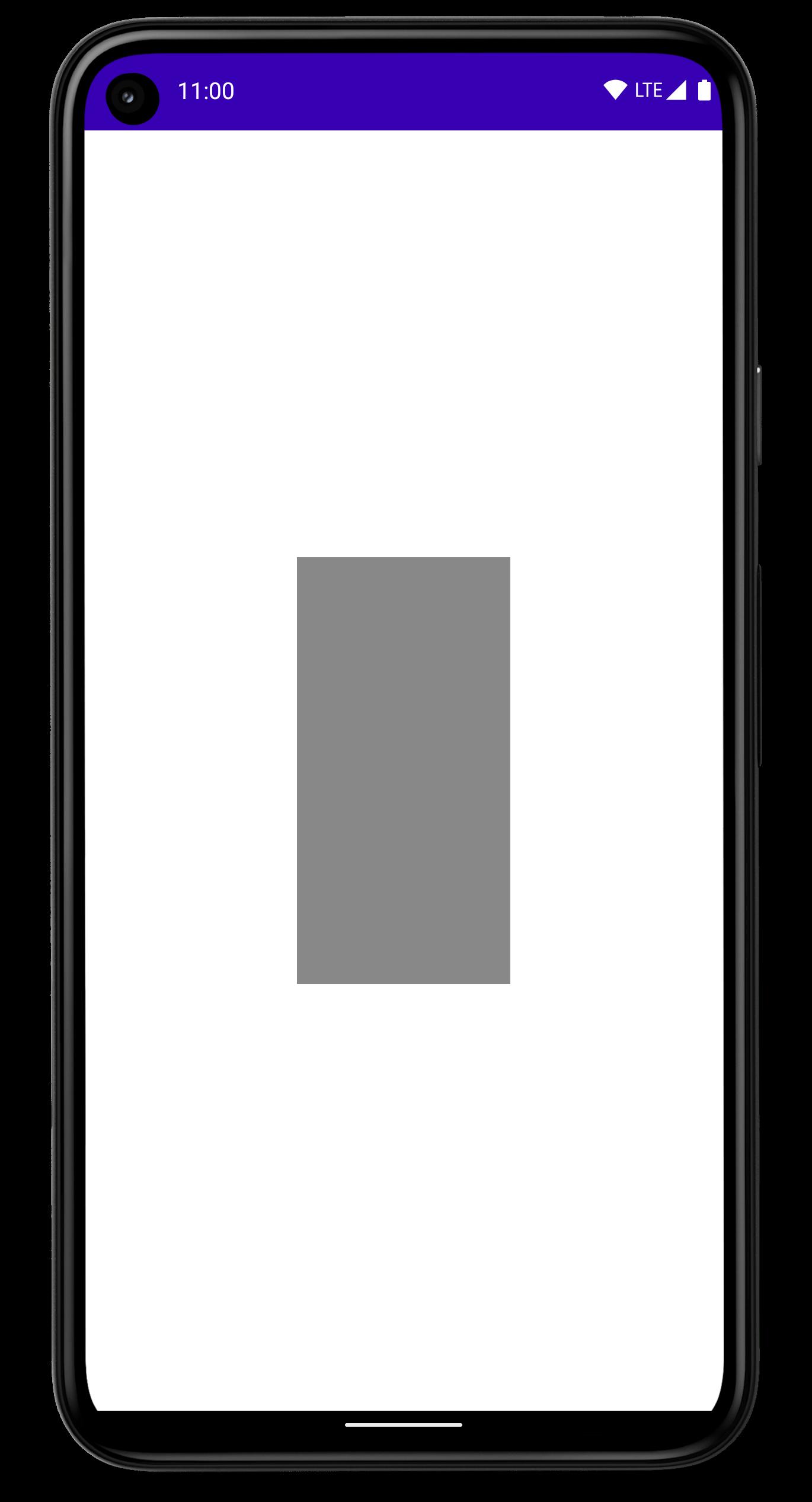 画面中央に塗りつぶしの長方形が表示されたスマートフォン。
