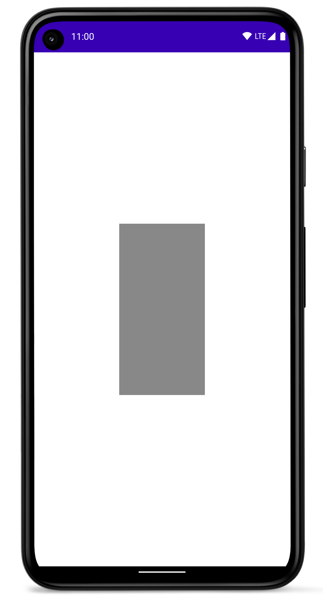 Smartphone com um retângulo preenchido no centro da tela.