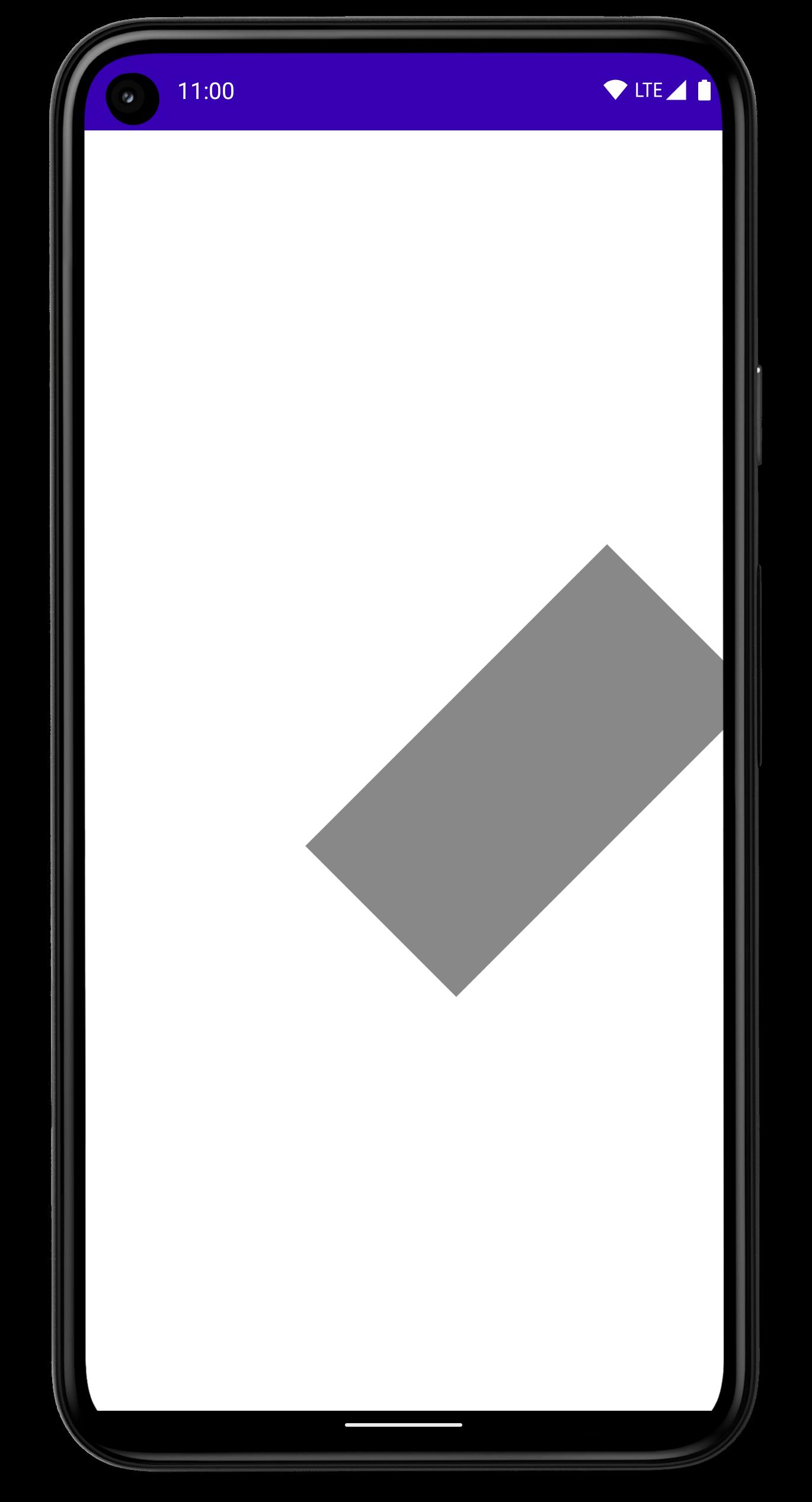 Smartphone com um retângulo rotacionado, deslocado para a lateral da tela.