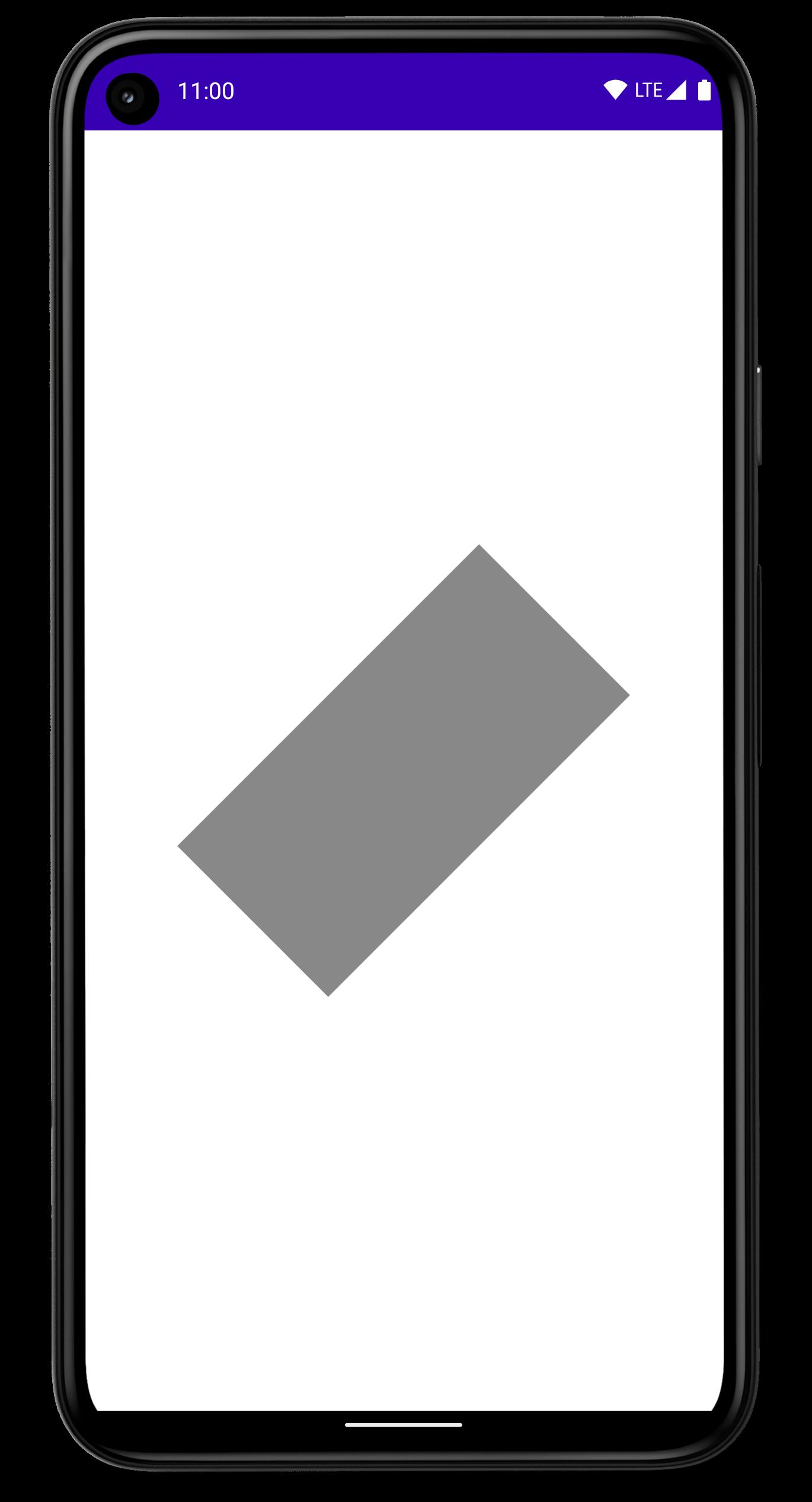 Smartphone com um retângulo girado em 45 graus no centro da tela.