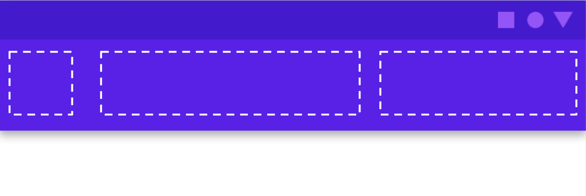 Muestra las ranuras en una barra de la app, donde puedes agregar elementos de la IU