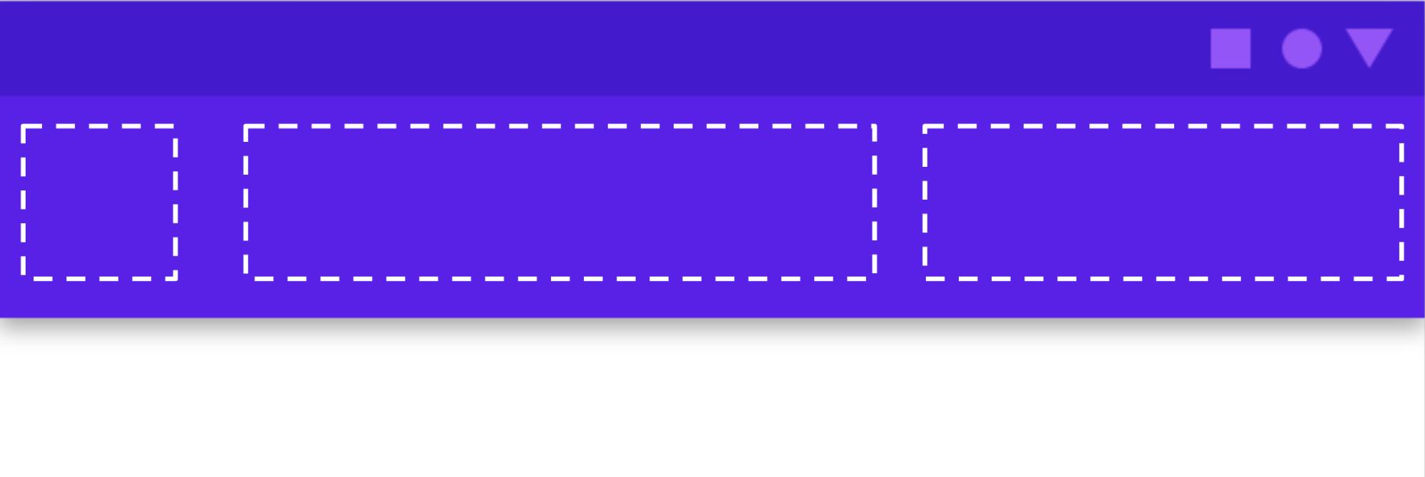 Diagrama que muestra los espacios disponibles en la barra de la app de componentes de Material