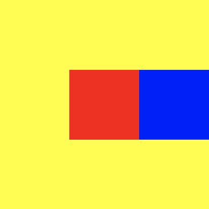중앙을 가로질러 상자가 일렬로 있는 노란색 큰 정사각형
