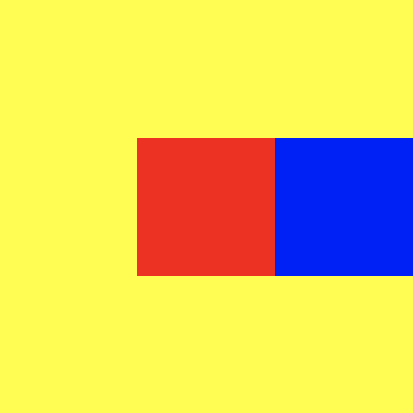 A large yellow square, with a row of boxes across its center
