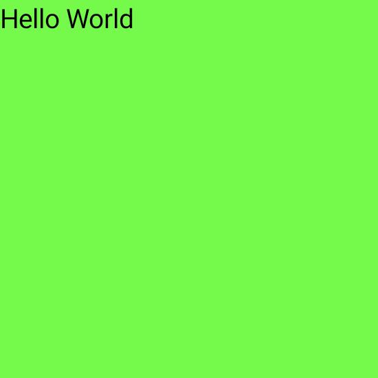 Texto pequeno no canto superior de um grande quadrado verde