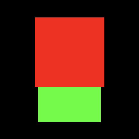 Dos rectángulos, uno encima del otro, y un cuadrado rojo más grande sobre un fondo verde más estrecho