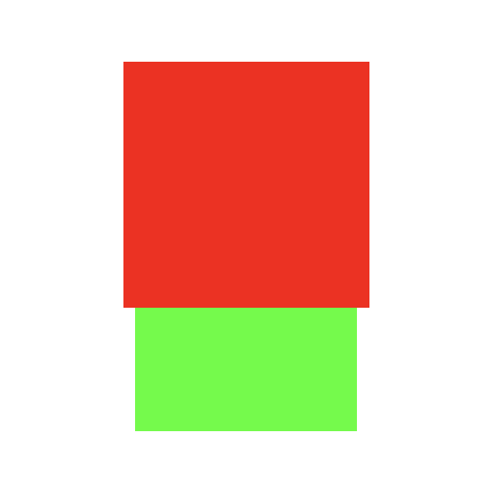 Two rectangles one on top of the other, a wider red box on top of a narrower green background