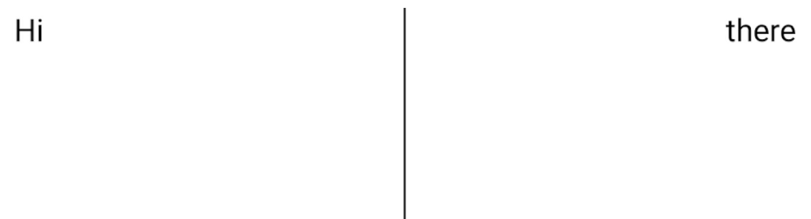 Dois elementos de texto lado a lado, com um divisor entre eles, mas o divisor se expande para baixo da parte inferior do texto