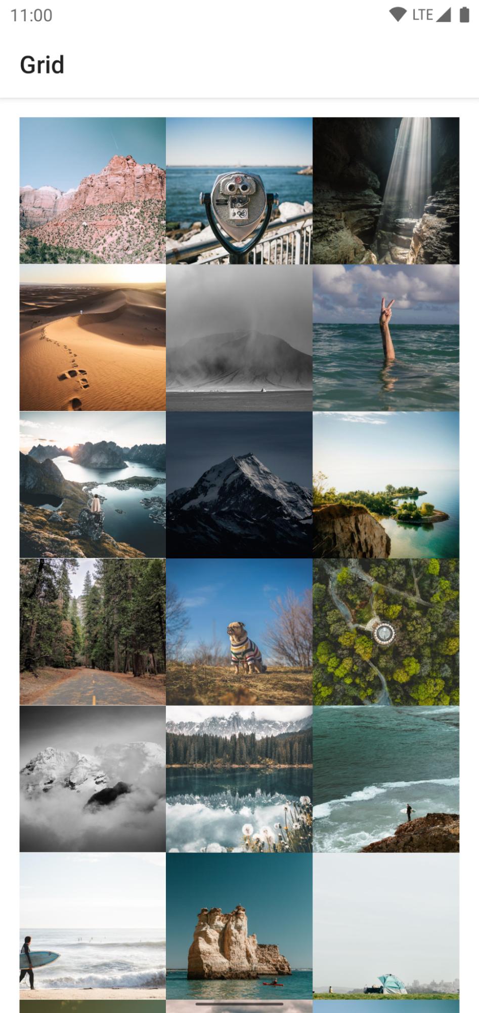 Captura de tela de um smartphone mostrando uma grade de fotos