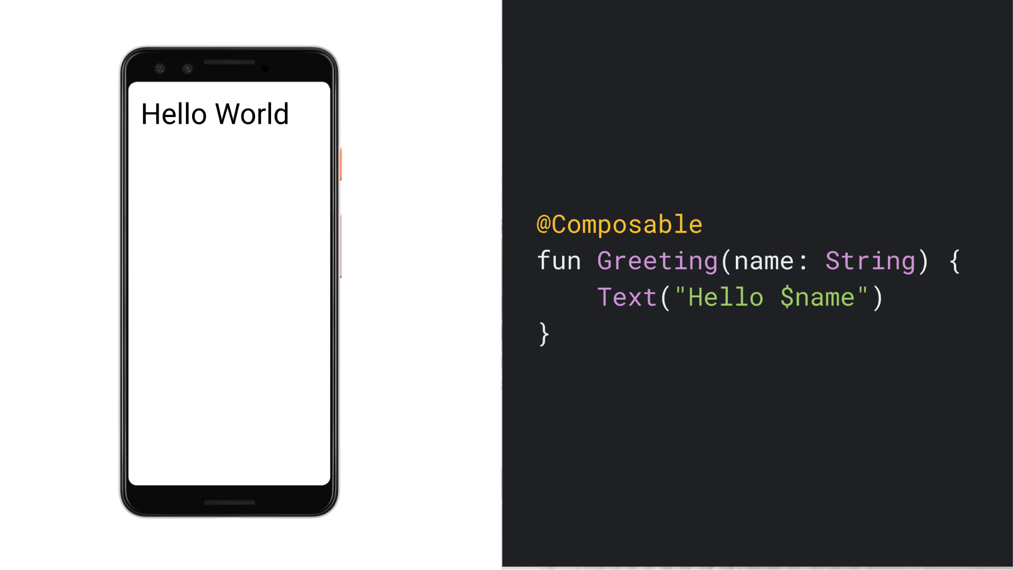 "A screenshot of a phone showing the text ""Hello World"", and the code for the simple Composable function that generates that UI"