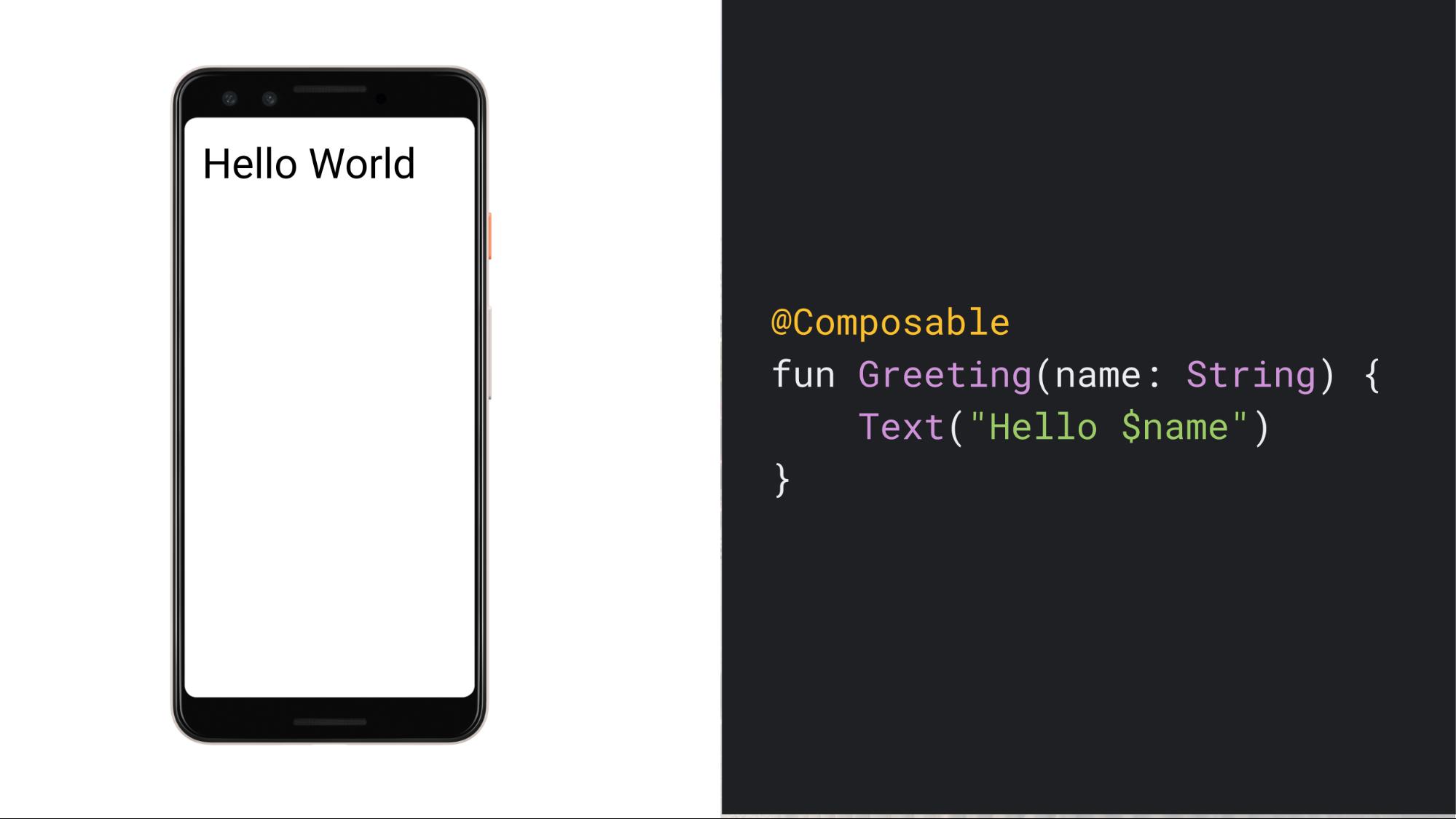 """Screenshot ponsel yang menampilkan teks """"Hello World"""", disertai kode untuk fungsi sederhana yang dapat dikomposisi dan membuat UI tersebut"""
