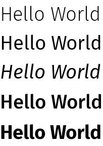 """以几种不同文字粗细度和样式显示的""""Hello World""""字样"""