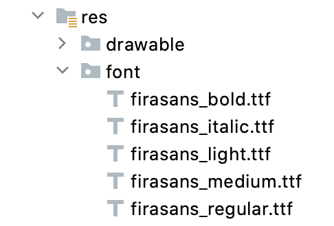 Graphical depiction of the res > font folder in the development environment
