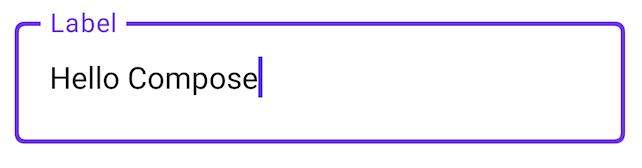 Campo de texto editable, con la etiqueta y un borde púrpura.