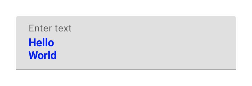 ラベルと 2 つの編集可能な行がある、複数行の TextField