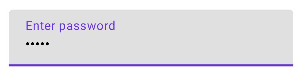 Un campo de entrada de texto con contraseña, con el texto enmascarado