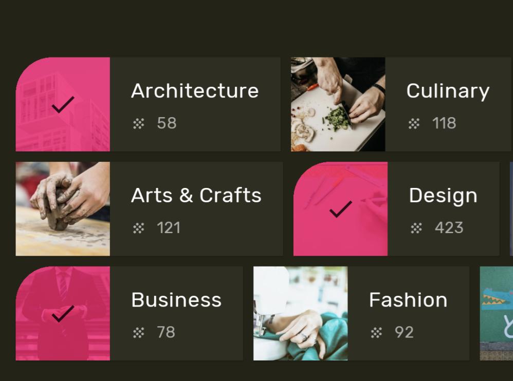 Captura de pantalla de una app que usa formas de Material para transmitir en qué estado se encuentra un elemento