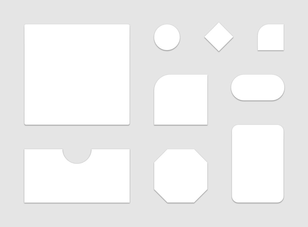 Mostra uma variedade de formas do Material Design