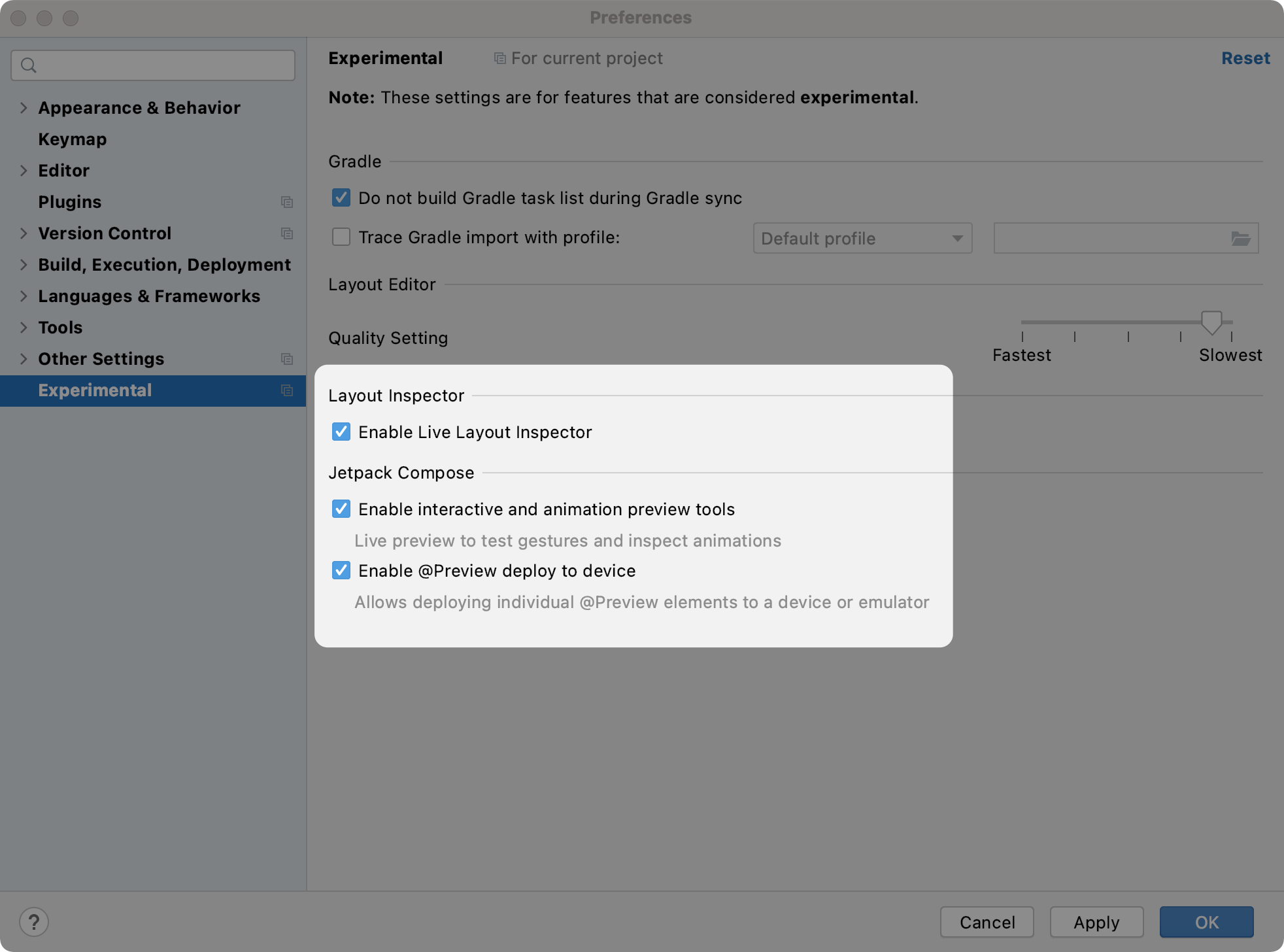 Compose tooling enabled inside the Android Studio Experiemental preferences