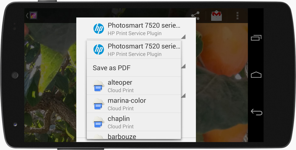 Mobile in landscape orientation showing printer support features