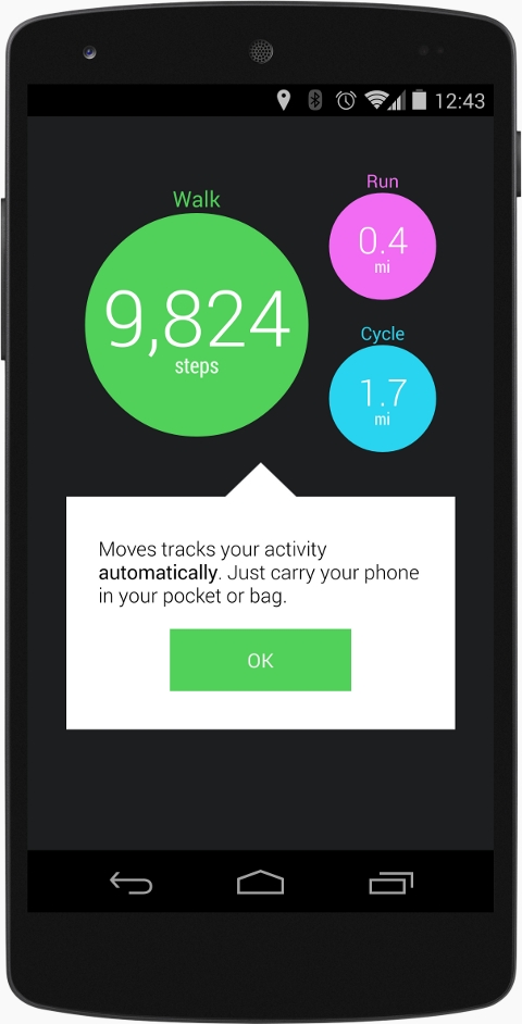 Mobile showcasing the new step detector support