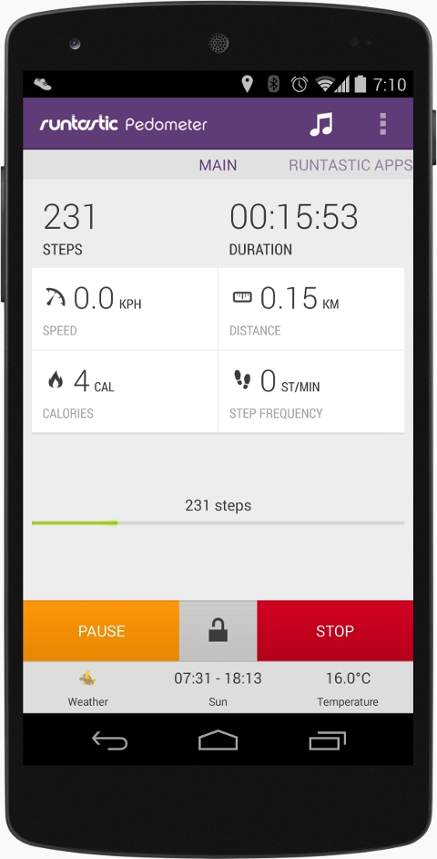 Mobile showcasing the new step counter support