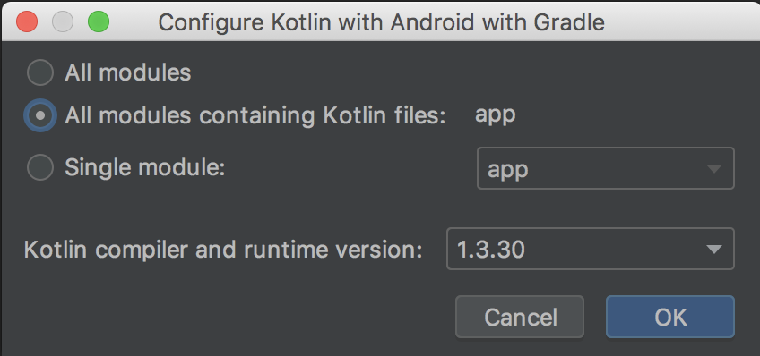 Kotlin コードを含むすべてのモジュールに Kotlin を設定するオプションを選択する