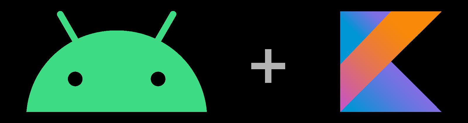 android and kotlin logos