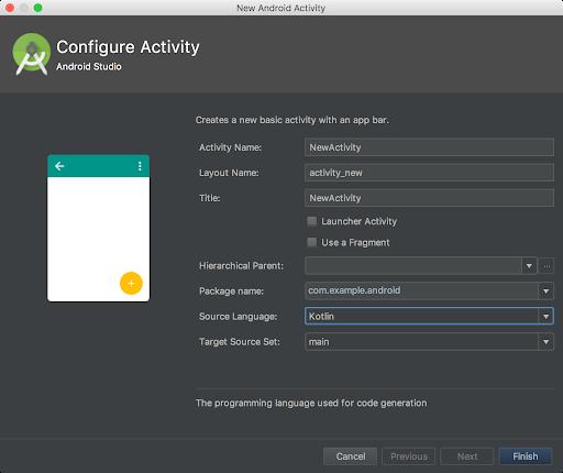 caixa de diálogo que permite escolher o Kotlin para sua linguagem fonte