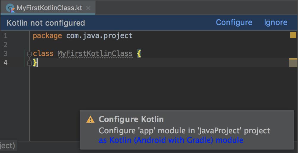 dialog peringatan yang meminta Anda mengonfigurasi Kotlin untuk project Anda